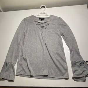 Grey BCX top with bell sleeves